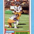 1981 Topps Football #242 Rolf Benirschke - San Diego Chargers Vg