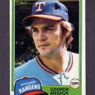 1981 Topps Baseball #702 George Medich - Texas Rangers