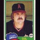 1981 Topps Baseball #601 Don Aase - California Angels Ex