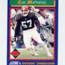 1992 Score Football #049 Clay Matthews - Cleveland Browns