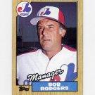 1987 Topps Baseball #293 Bob Rodgers MG / Montreal Expos Team Checklist