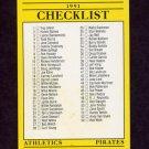 1991 Fleer Baseball #714 A's / Pirates / Reds / Red Sox Team Checklist
