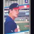 1989 Fleer Baseball #599 Ted Simmons - Atlanta Braves