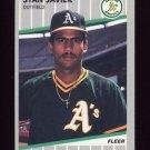 1989 Fleer Baseball #013 Stan Javier - Oakland A's