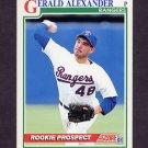 1991 Score Baseball #733 Gerald Alexander RC - Texas Rangers