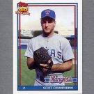 1991 Topps Baseball #676 Scott Chiamparino - Texas Rangers