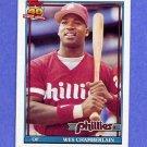 1991 Topps Baseball #603B Wes Chamberlain RC - Philadelphia Phillies