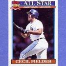 1991 Topps Baseball #386 Cecil Fielder AS - Detroit Tigers