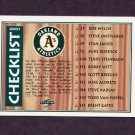 1995 Score Baseball #327 Team Checklist / Oakland A's / Pittsburgh Pirates