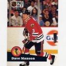 1991-92 Pro Set French Hockey #041 Dave Manson - Chicago Blackhawks