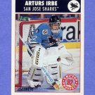 1992-93 Score Hockey #457 Arturs Irbe - San Jose Sharks