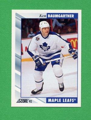 1992-93 Score Hockey #035 Ken Baumgartner - Toronto Maple Leafs