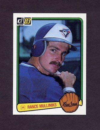 1983 Donruss Baseball #432 Rance Mulliniks - Toronto Blue Jays