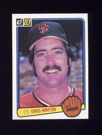1983 Donruss Baseball #186 Greg Minton - San Francisco Giants