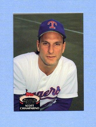1992 Stadium Club Baseball #896 Scott Chiamparino - Texas Rangers