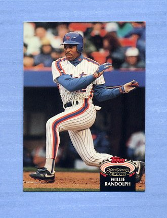 1992 Stadium Club Baseball #890 Willie Randolph - New York Mets