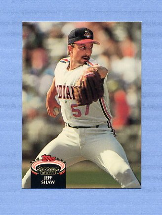 1992 Stadium Club Baseball #843 Jeff Shaw - Cleveland Indians