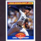 1989 Score Baseball #653 Orel Hershiser HL - Los Angeles Dodgers