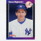 1989 Donruss Baseball #078 Dave Righetti - New York Yankees