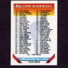 1993 Topps Baseball #395 Checklist 133-264