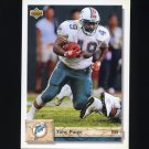 1992 Upper Deck Football #525 Tony Paige - Miami Dolphins