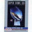 1990 Pro Set Theme Art Football #21 Super Bowl XXI New York Giants / Denver Broncos
