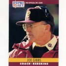 1990 Pro Set Football #333 Joe Gibbs CO - Washington Redskins