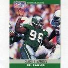 1990 Pro Set Football #250 Clyde Simmons - Philadelphia Eagles