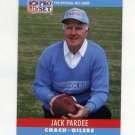 1990 Pro Set Football #127 Jack Pardee CO - Houston Oilers