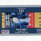 1990-91 Pro Set Super Bowl 160 Football #003 Super Bowl III Ticket - Jets / Colts