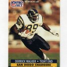 1991 Pro Set Football #648 Derrick Walker RC - San Diego Chargers