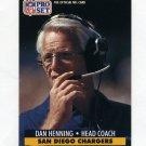 1991 Pro Set Football #288 Dan Henning CO - San Diego Chargers