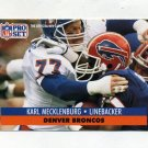 1991 Pro Set Football #142 Karl Mecklenburg - Denver Broncos