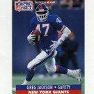 1991 Pro Set Football #066 Greg Jackson RC - New York Giants