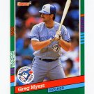 1991 Donruss Baseball #494 Greg Myers - Toronto Blue Jays