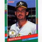 1991 Donruss Baseball #479 Todd Burns - Oakland A's