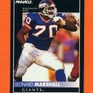 1992 Pinnacle Football #179 Leonard Marshall - New York Giants