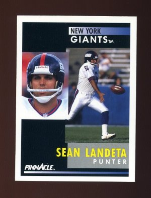 1991 Pinnacle Football #014 Sean Landeta - New York Giants