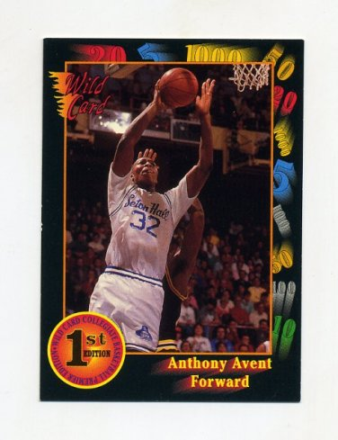 1991-92 Wild Card Basketball #006 Anthony Avent - Seton Hall