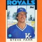 1986 Topps Traded Baseball #035T Steve Farr - Kansas City Royals