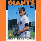 1986 Topps Traded Baseball #009T Juan Berenguer - San Francisco Giants