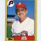 1987 Topps Traded Baseball #032T Lee Elia MG - Philadelphia Phillies