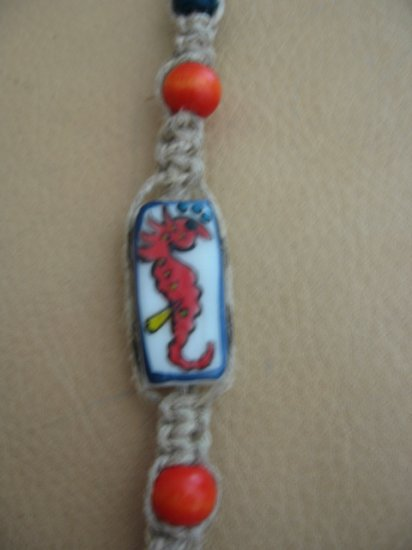 Hemp Bracelet with sea horse bead