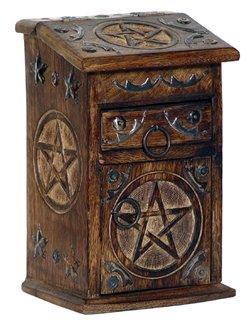 Pentacle Antique Wooden Desk Box - metaphysical