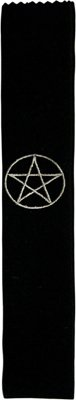Pentacle Black Velvet Embroidered Wand Bag - 11x1.75 - metaphysical