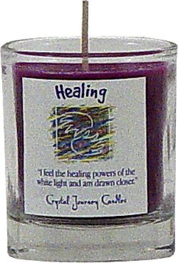 Soy Herbal Healing Candle - Filled Votive Holder -Crystal Journeys Candles