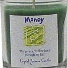 Soy Herbal Money Candle - Filled Votive Holder -Crystal Journeys Candles
