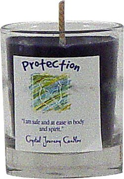 Soy Herbal Protection Candle - Filled Votive Holder -Crystal Journeys Candles