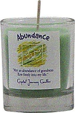 Soy Herbal Abundance Candle - Filled Votive Holder -Crystal Journeys Candles