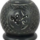Soapstone OM T-Light Ball Candleholder- Black - metaphysical
